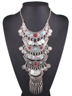 Statement Coin Fringe Pendant Necklace - Silver
