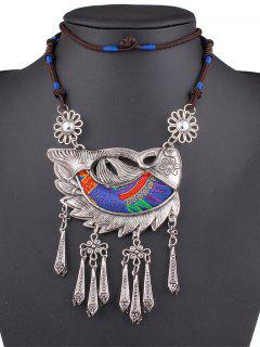 Embroidery Lucky Fish Necklace - Blue