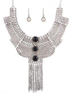 Chain Fringe Necklace And Earrings - Silver And Black