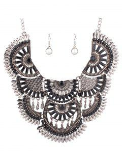 Resin Bead Necklace And Earrings - Black