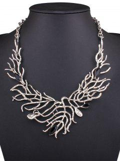 Resin Branch Leaf Necklace - Silver