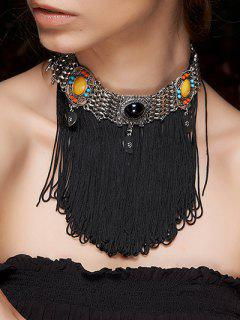 Rope Fringed Faux Gem Choker - Black
