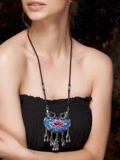 Sinicism Lotus Embroidery Necklace - Blue