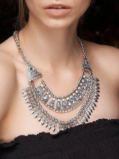 Ethnic Rhinestone Layered Necklace - Silver