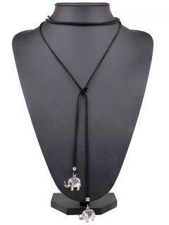 Elephant Adjustable Wrap Necklace - Silver