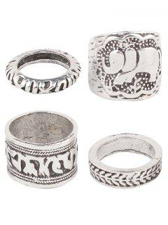 Engraved Elephant Etched Rings - Silver