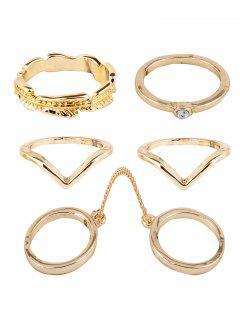 Rhinestone Leaf Rings - Golden