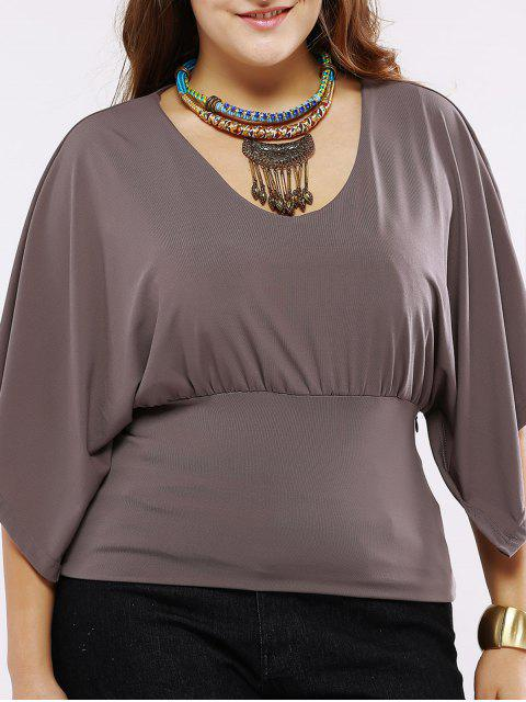 women Plus Size Chic Batwing Sleeve Ruched Blouse - DARK KHAKI 4XL Mobile