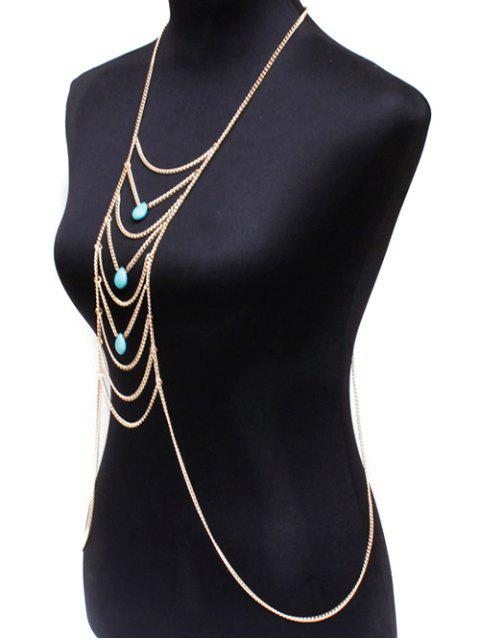 latest Fake Turquoise Water Drop Body Chain - GOLDEN  Mobile
