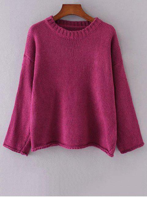 Cuello redondo de manga larga de color sólido que ensanchan suéter - Rojo purpúreo Única Talla Mobile