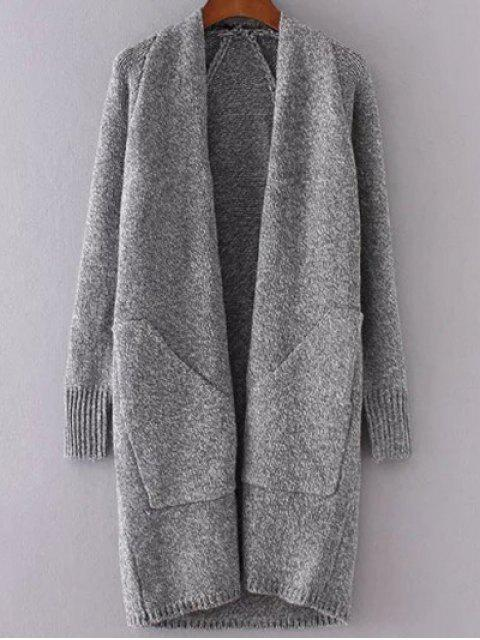 lady Collarless Long Sleeve Trapezoid Pocket Loose Cardigan - GRAY ONE SIZE Mobile