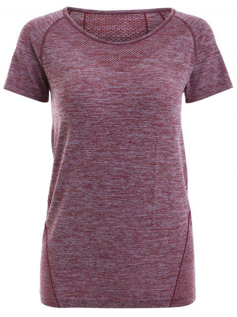 women Raglan Short Sleeve Sport Running Gym T-Shirt - DARK RED S Mobile
