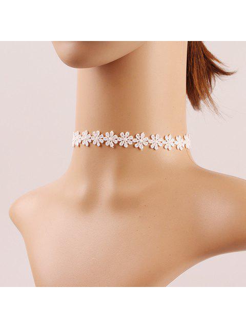 latest Crochet Flower Lace Choker - WHITE  Mobile