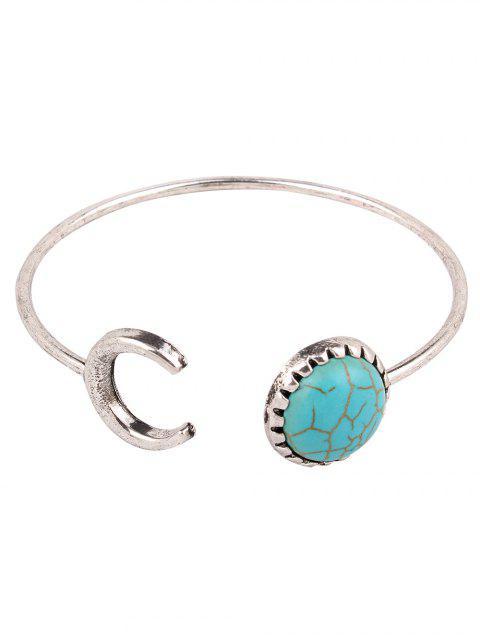 women Faux Turquoise Crescent Bracelet - SILVER  Mobile