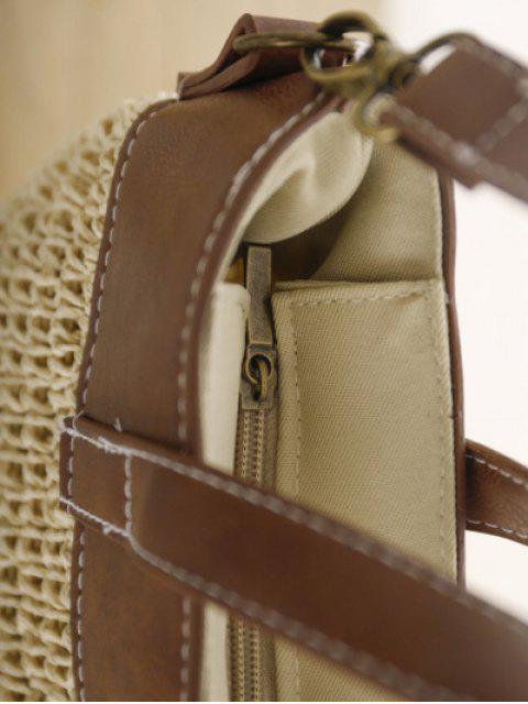 shops Splicing Weaving Straw Shoulder Bag -   Mobile