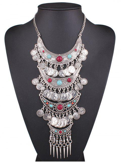 new Statement Coin Fringe Pendant Necklace - SILVER  Mobile