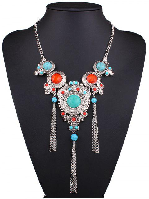 hot Faux Turquoise Fringed Necklace - SILVER  Mobile