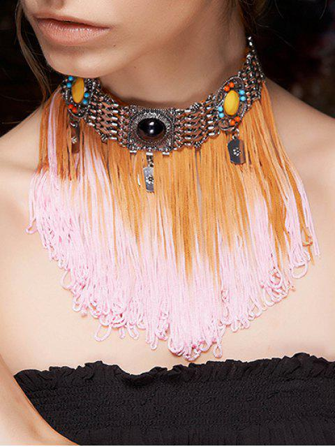 outfit Color Block Rope Fringed Choker - COLORMIX  Mobile