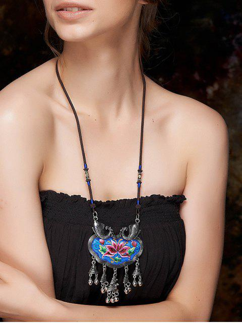 shops Sinicism Lotus Embroidery Necklace - BLUE  Mobile