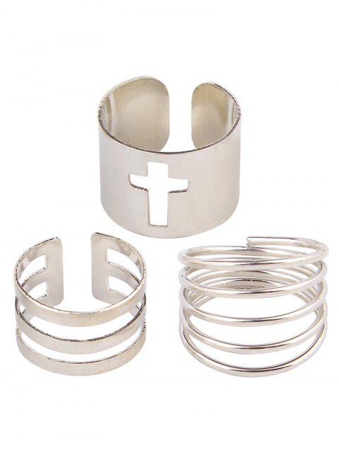 trendy Solid Color Spring Cage Rings - SILVER  Mobile