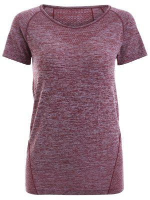 Raglan Short Sleeve Sport Running Gym T-Shirt - Dark Red S