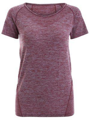Raglan Short Sleeve Sport Running Gym T-Shirt - Dark Red Xs