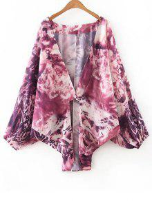 Collarless Bat-Wing Sleeve Tie-Dyed Print Blouse - Purple M