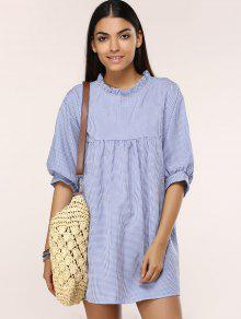190b4d08848e3 33% OFF] 2019 Gingham Check Babydoll Dress In BLUE AND WHITE | ZAFUL