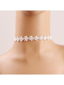 زهرة الكروشيه الرباط المختنق - أبيض
