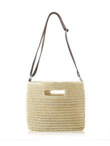 Straw Hollow Out Solid Color Shoulder Bag - Off-white
