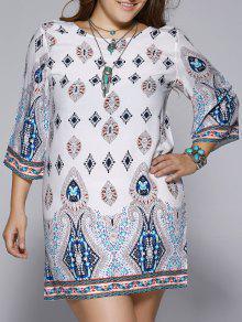 فستان الحجم الكبير مفتوحة الظهر طباعة عرقية - Xl