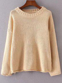 Col Rond Manches Longues Couleur Unie Flanging Sweater - Abricot