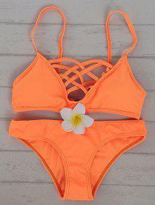 Ensemble Bikini évidé Cami Coleur Unie - Douce Orange Xl