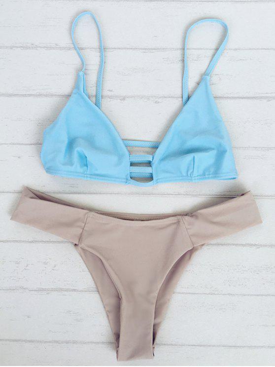 hot Bicolor Teeny Bikini Set - BLUE M