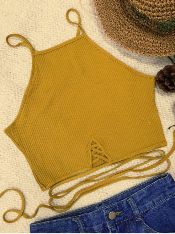 Cor sólida alças finas tiras de alças - Amarelo M