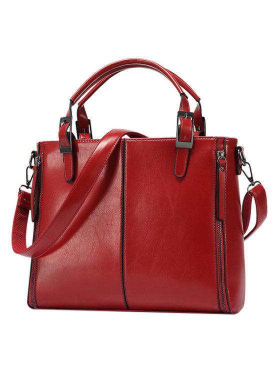 المألوف السحابات و أبازيم تصميم حمل حقيبة للنساء - نبيذ أحمر