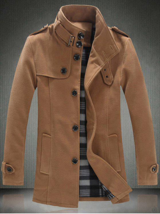 online Elegant Stand Collar Slim Single Breasted Wool Overcoat For Men - KHAKI 3XL