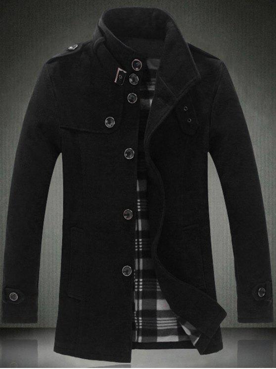 shop Elegant Stand Collar Slim Single Breasted Wool Overcoat For Men - BLACK 2XL