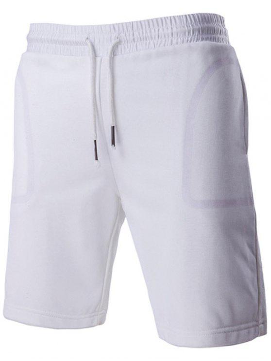 Kurze Art Transparent-Taschen-Entwurf Schnürbund Shorts für Männer - Weiß M