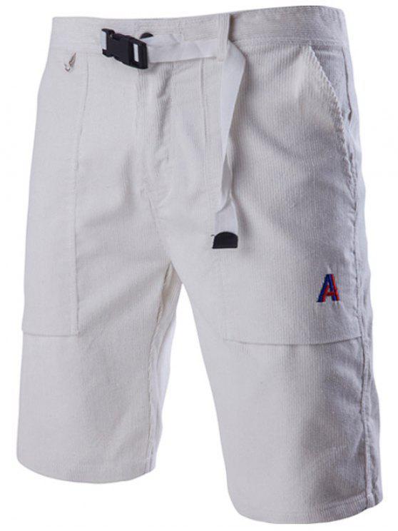 Novidade cordão Cintura projeto Shorts Corduroy casual para homens - Branco XL