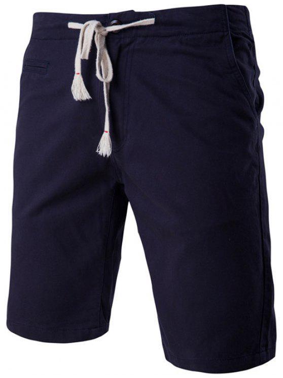 womens Fashion Faux-Pockets Design Drawstring Waistband Shorts For Men - CADETBLUE XL