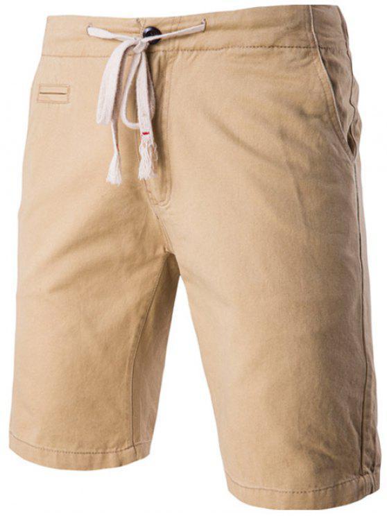 أزياء جيوب تصميم الرباط حزام السراويل للرجال - ضوء كاكي 2XL