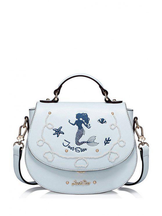حقيبة كروس بتطريز حورية البحر - الضوء الأزرق