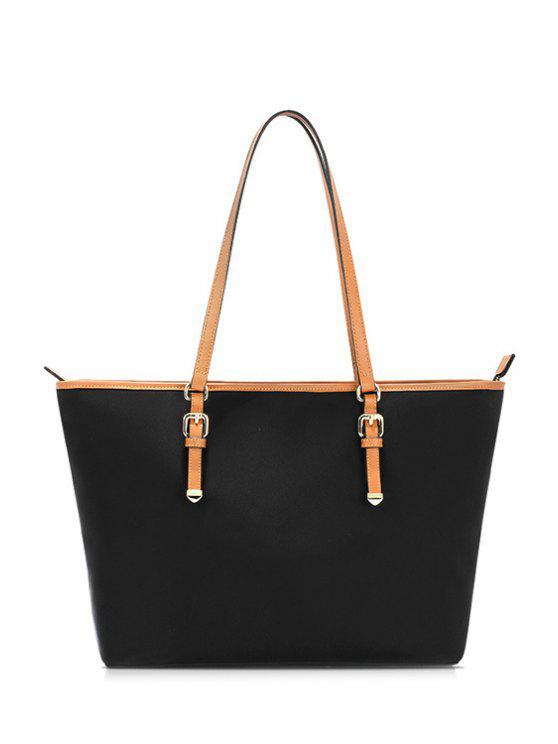 حقيبة كتف من النايلون المضاد للماء باللون الأسود - أسود