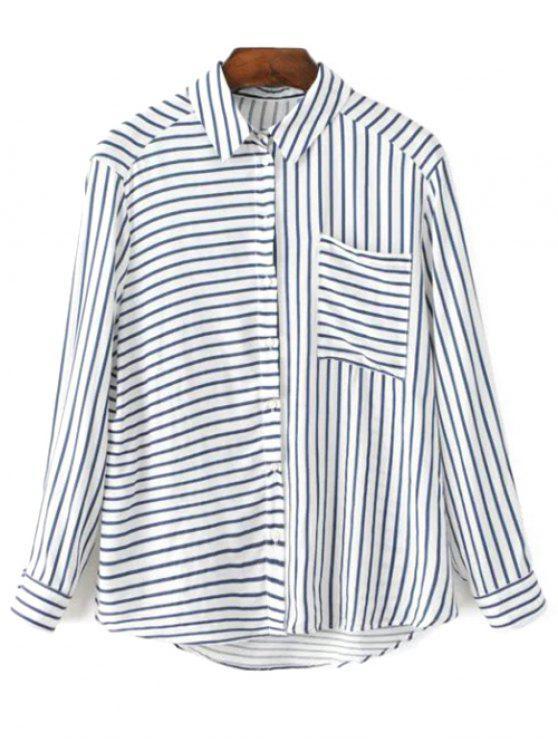 Chemise rayée à manches longues col Pocket Shirt - Bleu et Blanc M