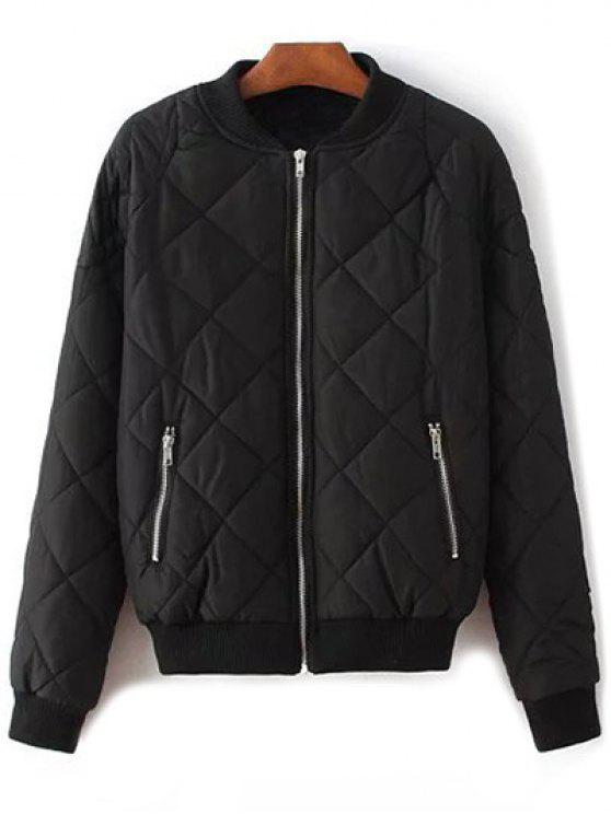 women Argyle Stand Neck Solid Color Jacket - BLACK L
