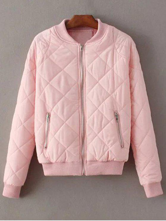 lady Argyle Stand Neck Solid Color Jacket - PINK L