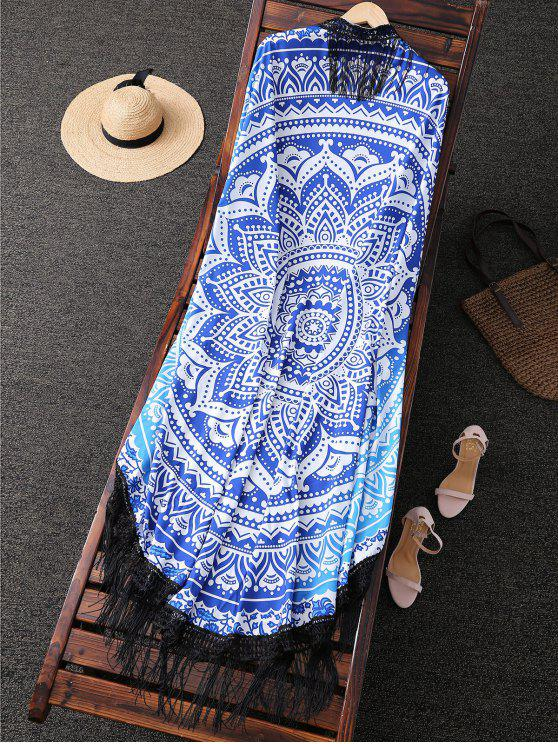 buy Flower Print Fringed Beach Throw - BLUE AND WHITE ONE SIZE(FIT SIZE XS TO M)