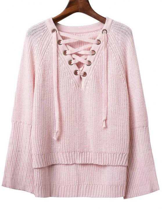 shop Lace Up V Neck Long Sleeve Sweater - PINK ONE SIZE