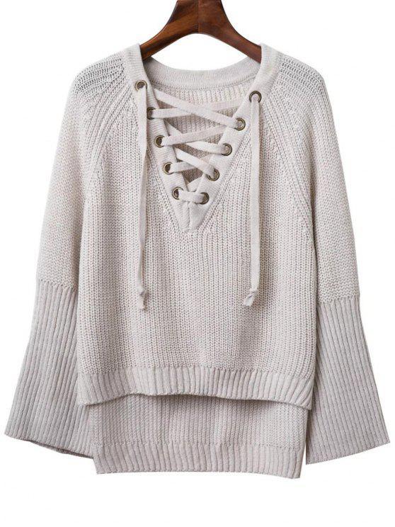 Ate para arriba cuello en V suéter manga larga - Gris Claro Única Talla